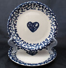TIENSHAN FOLK CRAFT HEARTS BLUE SPONGE SALAD DESSERT PLATES TWO