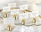 24 GOLD Kissing Bells Heart Wedding Favor Placecard Holders