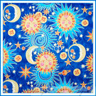 BonEful Fabric FQ Cotton Quilt Blue VTG Moon Sun Star Zodiac Astrology Yoga Zen
