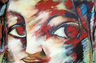Pablo Perea ARTE CUBANO oil on canvas painting woman red face portrait Cuban art