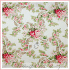 BonEful Fabric FQ Robyn Pandolph Pink White Ribbon Rose Green Leaf Toile Cotton