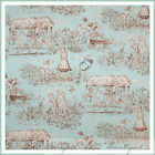 BonEful Fabric FQ Cotton Quilt VTG Blue Brown Baby Girl Boy Toile Flower French