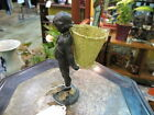 Bronze Figure on Marble, Young Girl with Basket