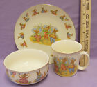 Vtg Bunny Rabbit Playing Music Plate Bowl & Cup Gold Trim Made in Japan Lot of 3
