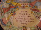 222 Fifth TWELVE DAYS OF CHRISTMAS Salad Plate Ten Pipers Piping