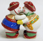 FIGI ENCORE Ceramic Salt and Pepper Shaker Set WESTERN SNOWMAN COUPLE