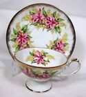 VINTAGE SHAFFORD HAND DECORATED JAPAN TEACUP & SAUCER FOOTED PINK FLOWERS