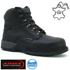 MENS SAFETY BOOTS LEATHER STEEL TOE CAP ANKLE TRAINERS HIKING SHOES SIZE 6-13UK