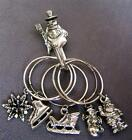5 Wine Stem Charms and Hook Winter Christmas Holiday Rawcliffe Pewter