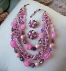 Vintage Pink Purple Glass Bead Necklace  Earring Set Signed WGermany