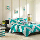 REVERSIBLE 4 PC BLUE GREY WHITE TEAL CHEVRON STRIPE SOFT COMFORTER SET NEW!!