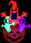 Gemmy Inflatable Airblown Halloween Pumpkin Jack with Neon Color Ghosts Trio