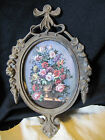 VINTAGE ITALIAN BRASS METAL OVAL GLASS PICTURE FRAME~FLORAL STUDY