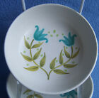 2x 1960's Franciscan TULIP TIME blue green flowers FRUIT BOWL SAUCE DISH  5.5