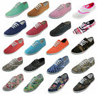 Womens Classic Plimsoll Sneaker Lace Up Fashion Canvas Shoes Colors Sizes 5 11