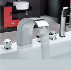 Widespread Chrome Roman Waterfall Bathroom Tub Faucet Mixer Tap with Hand Shower