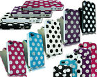 NEW POLKA DOTS PU LEATHER FLIP CASE COVER POUCH FITS APPLE I PHONE 4 4G 4S