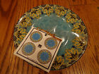 4 Spice Kingdom Blue  222 Fifth Round Dessert Tidbit Snack Appetizer Plates NEW