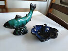 BLUE MOUNTAIN POTTERY MAPLE LEAF AND FISH TWO PIECE LOT