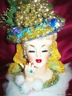 Beautiful NAPCO JEWELED LADY HEAD VASE Christmas Gold
