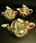 SATSUMA  SET Japanese TEAPOT DRAGON pre 1920 thousand faces with deities scene
