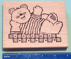 BEAR WAVING rubber stamp by Hooks Lines  Inkers