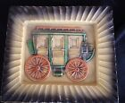 Vintage Stagecoach Plate Tray Amazing Detail- Color Unusual Piece Pottery 7.5x8