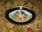 Antique French Porcelain Portrait Plate by Ednaro With Gold Trim And Handles