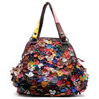 Genuine Leather Multi-Color Flower & Butterfly Patchwork Shoulder Bag Hobo Purse