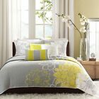 BEAUTIFUL CHIC MODERN GREY YELLOW COTTON FLORAL FLOWER QUILT SET QUEEN