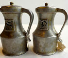 PAIR OF ANTIQUE 1960's PEWTER SALT & PEPPER SHAKERS -MARKED P.W.P.- KITCHENWARE