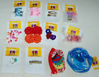 Lot K NEW Hair Accessories 12 pkgs barrettes, ponytail holders; kid child styles