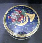 Mikasa Japan Large Porcelain Trinket Box or Candy Dish with Lid blue white gold