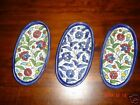 HAND PAINTED PORCELAIN OVAL DISH BLUE RED FLOWERS