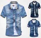 XD75 New Mens Vintage Short Sleeve Casual Denim Shirt Slim Stylish Wash Jeans