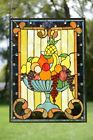 22 X 30 Handcrafted stained glass window panel Fruit Basket GrapeApple Etc