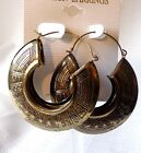 BOHEMIAN HOOP EARRINGS ANTIQUE GOLD COPPER OR SILVER TONE 225 INCH LIGHTWEIGHT