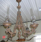 1880's Victorian Cast Iron 4 Arm Oil Lamp Hanging Large Ceiling Light Fixture