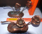 Two COPPER VINTAGE GREGORIAN SOLID COPPER double CANDLE HOLDERS, stamped