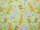 Animal Birthday Party flannel green elephant giraffe bear balloons gifts 1/2 YD