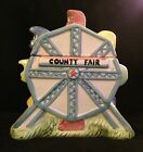 Corning Factory Store Hand-painted Ceramic Cookie Jar-County Fair-Ferris Wheel