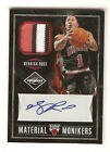 1 1 Derrick Rose 2011-12 Limited Material Monikers Patch Auto 1 of 1 (3 Colors)