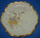 ANTIQUE LIMOGES PLATE HAND PAINTED GOLD ENAMEL FLOWERS VICTORIAN FRANCE 1891 SGN