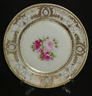 ANTIQUE NIPPON PLATE CHARGER HAND PAINTED GOLD ROSES JEWELS BEADED PORCELAIN 10