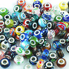 100pcs Mixed Murano Lampwork Glass Beads Fit European Charm Bracelets Handmade