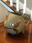 Signed Majolica Grape and Leaves Unique Handle Pottery Pitcher Made In Italy