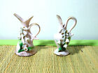 2  Pink Gold Trim Lefton Mini Pitchers Bud Vases with 3D lilly of the Valley