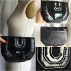 VTG MAGNUM CLUTCH BLACK Suede LEATHER Bag Retro Lizard Reptile PURSE Stunning!!