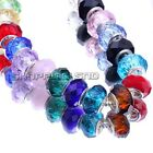 Lot 100pcs Mixed Faceted Murano Lampwork Glass Beads Fit European Charm Bracelet
