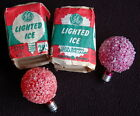 2 Vintage 'LIGHTED ICE' Snowball Christmas Light Bulbs G.E. D-30